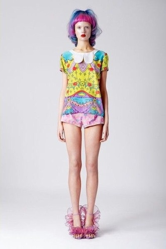 shirt style neon fashion rainbow colorful romper peter pan collar
