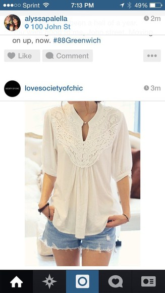 shirt top lace tan