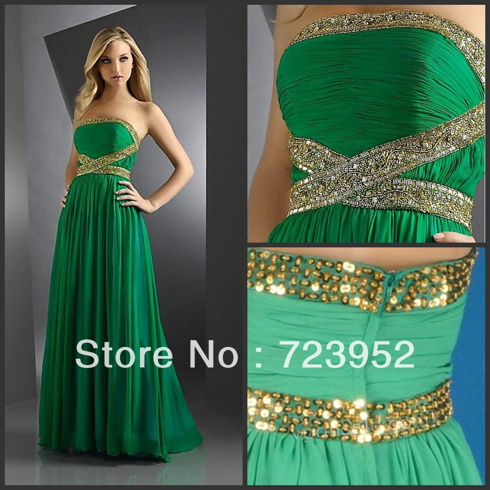Aliexpress Buy 2013 Glamorous Rare Strapless Chiffon Gold Beaded Lime Green Hot Sale Evening Gown