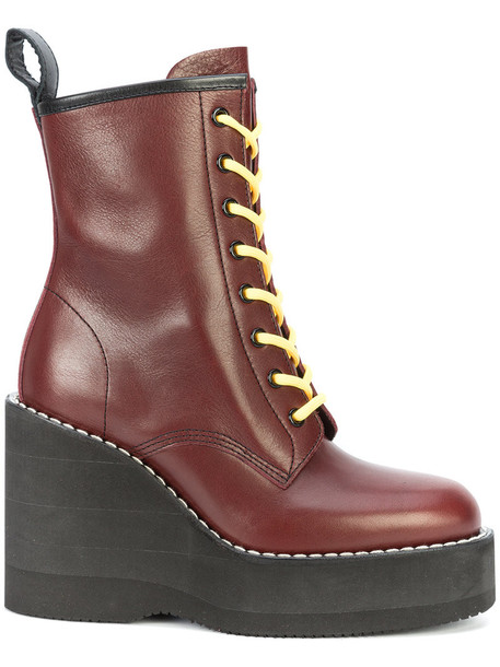 Sacai women leather red shoes