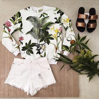 blouse yeah bunny tropical palms cute sweatshirt palms trees leaf print