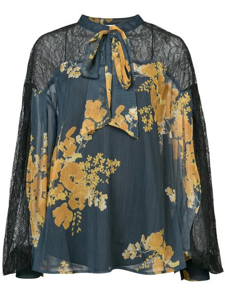 Sachin & Babi blouse women floral print blue top