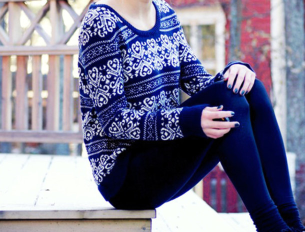 sweater winter sweater dark blue white