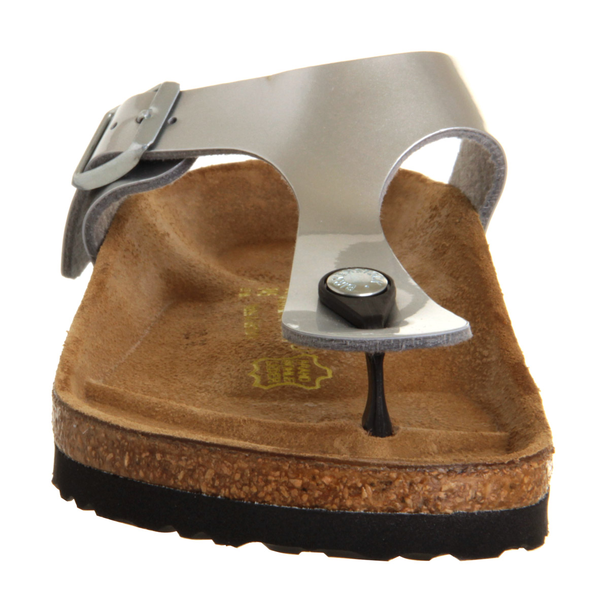 Birkenstock Toe Thong Footbed Steel Silver Birko Flor - Sandals