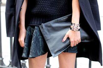 bag pouch black pouch givenchy bag givenchy skirt black skirt mini skirt sweater black sweater cuff bracelet bracelets