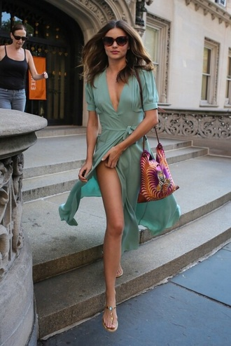 dress green turquoise wrap dress midi dress miranda kerr slit dress slit spring dress v neck dress