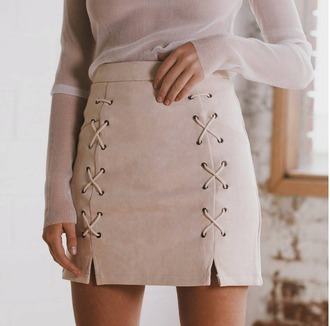 skirt mini suede skirt lace up girly girl girly wishlist mini skirt suede lace up skirt nude skirt