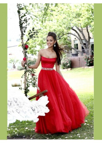 dress red dress ball gown prom gown