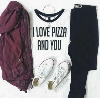 t-shirt coat jeans red black