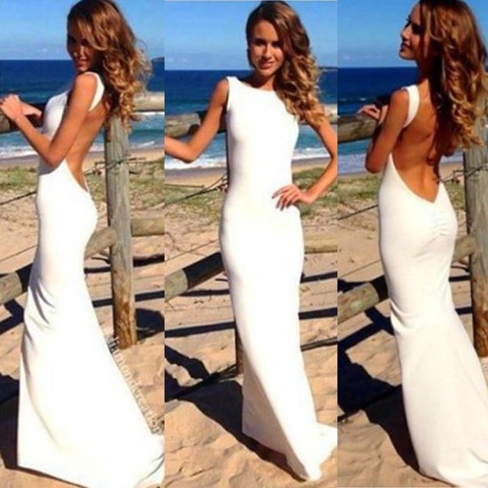 New Women Backless Sleeveless Slim Bodycon Maxi Dress Party Cocktail Evening-V