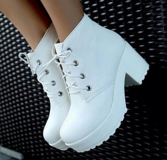 shoes white platform shoes platforms heels platform heels boots booties style fashion ankle boots white boots