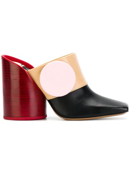 Jacquemus oversized women mules leather black shoes