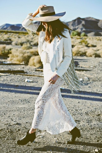 color me nana blogger hat fringed jacket white jacket lace dress boho dress jacket dress shoes jewels spring jacket