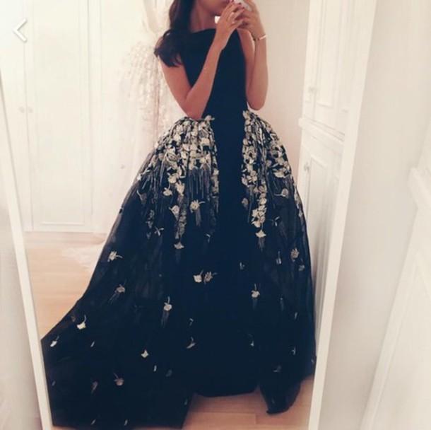 Dress Prom Prom Dress Floorlength Black Dress Lace Dress Gown
