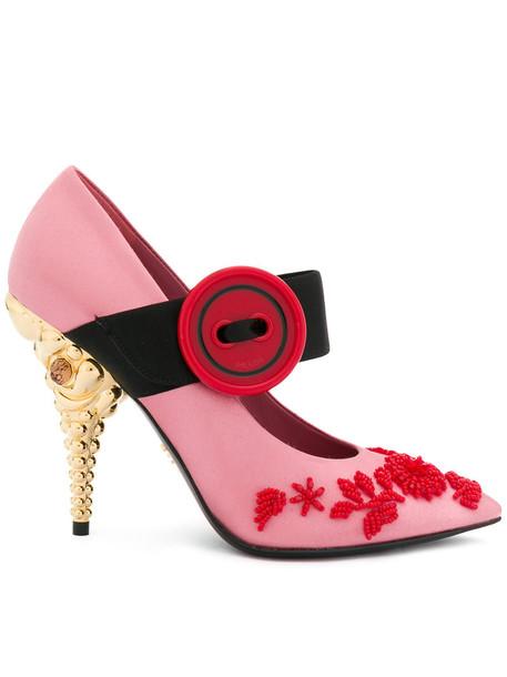 Prada women embellished pumps leather cotton purple pink satin shoes