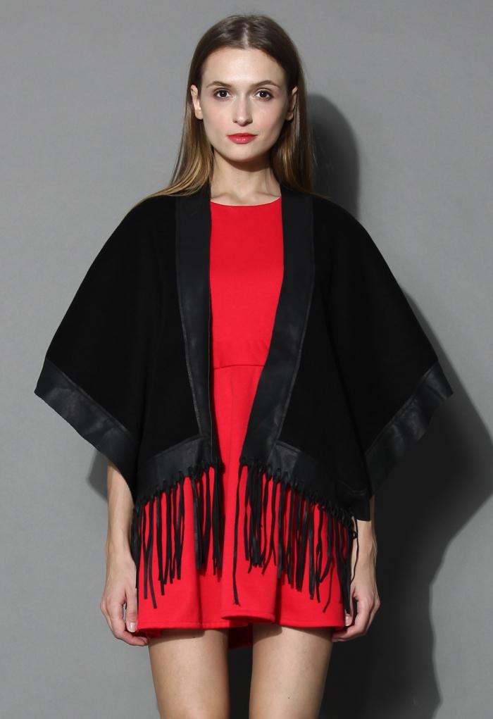 Leather Tassel Jockey Cape in Black - Retro, Indie and Unique Fashion