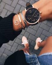 jewels,watch,black watch,bracelets,accessories,Accessory,mvmt watches,mvmt,stacked bracelets,stacked jewelry