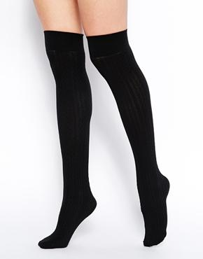 American Apparel | American Apparel Over the Knee Cable Knit Socks at ASOS