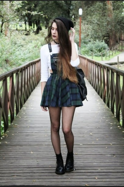 1cd6178c9f5 dress shirt shoes tartan cardigan overalls tartan skirt suspenders skirt  skirt plaid skirt grunge punk cool