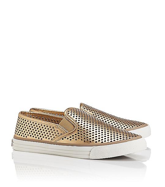 Tory Burch Miles Metallic Perforated Sneaker  : Women's Flats