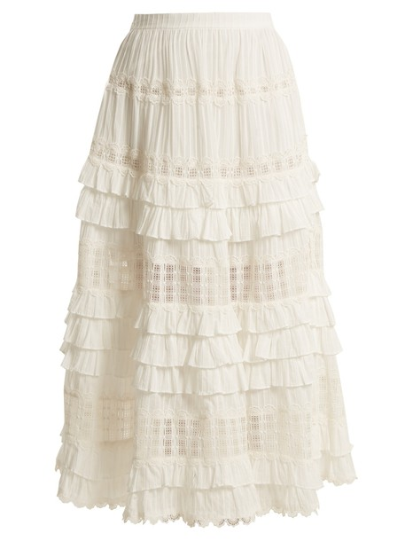 Zimmermann skirt ruffle lace cotton