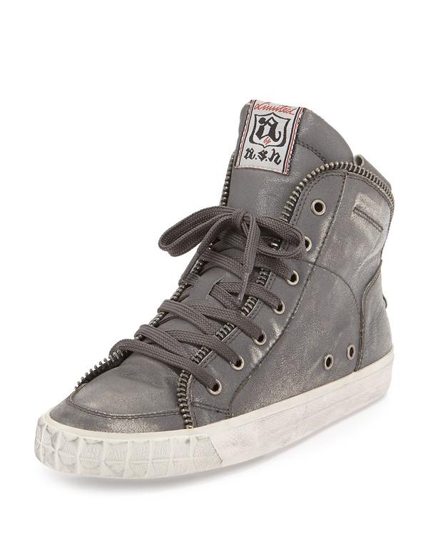 shoes ash shake metallic high-top sneaker high-top sneakers sneakers shake metallic black/silver