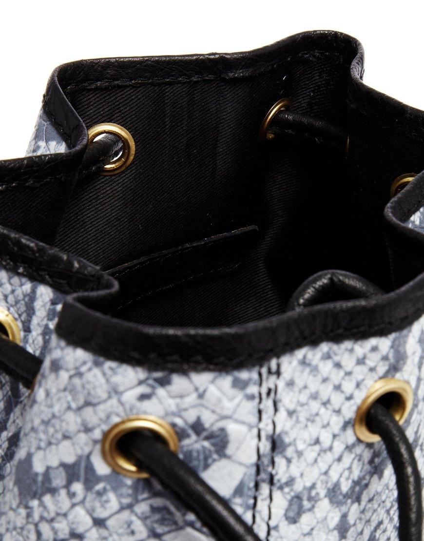 River Island Grey Snake Print Leather Duffle Bag at asos.com