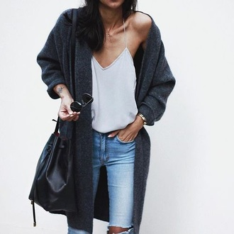cardigan tumblr tumblr outfit cute outfits aesthetic cute bags cute cardigans ripped jeans grey cardigan