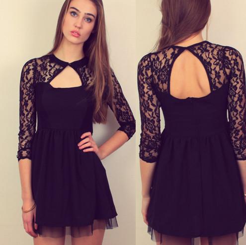 Full sleeved lace skater dress – sirenlondon