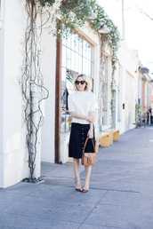 damsel in dior,blogger,skirt,white top,sweater,shoes,bag,saddle bag