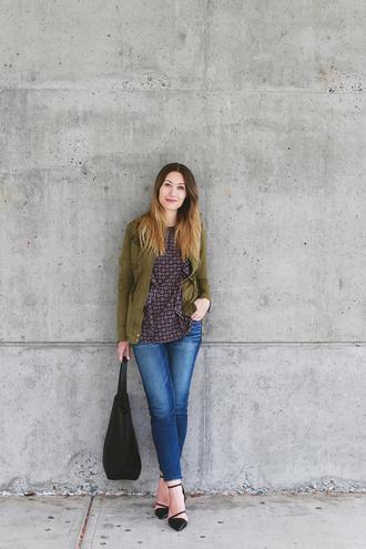 girl and closet blogger jacket top jeans bag