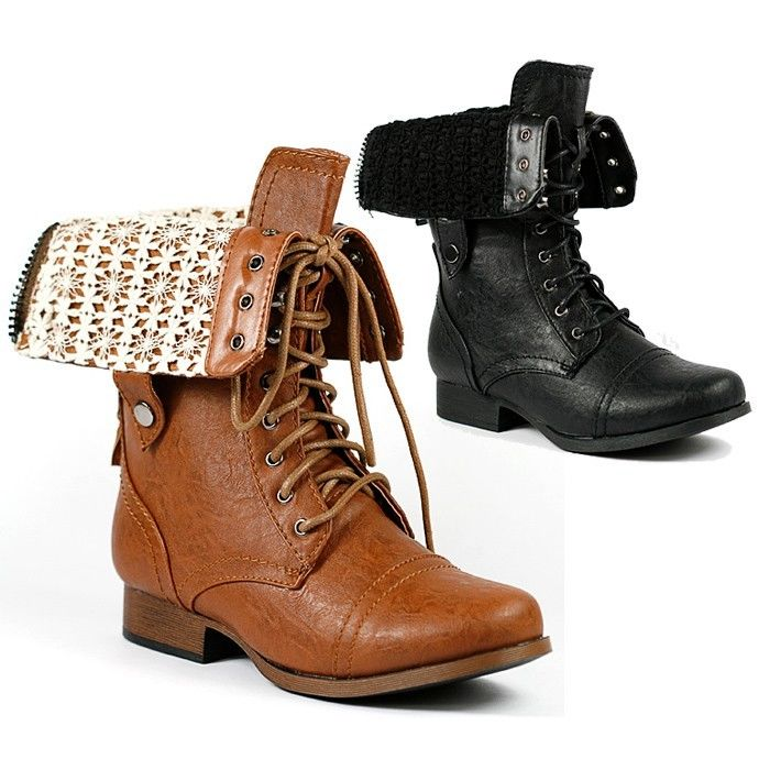 Fold down Mid-Calf Lace-Up Military Combat Boots Wild Diva Jetta-25P