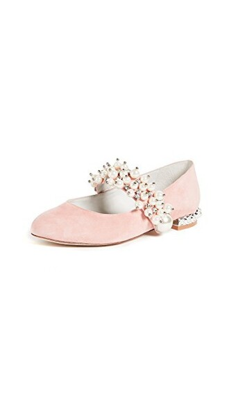 flats silver pink shoes