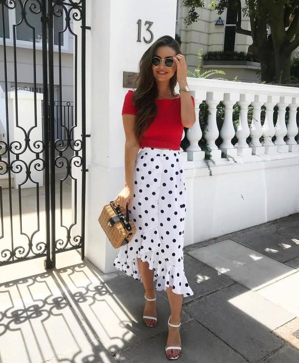 top red top skirt polka dots skirt bag shoes sunglasses