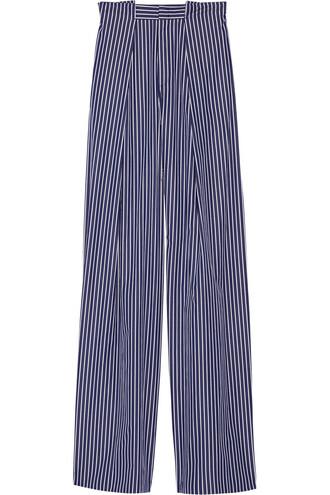 pants wide-leg pants cotton navy