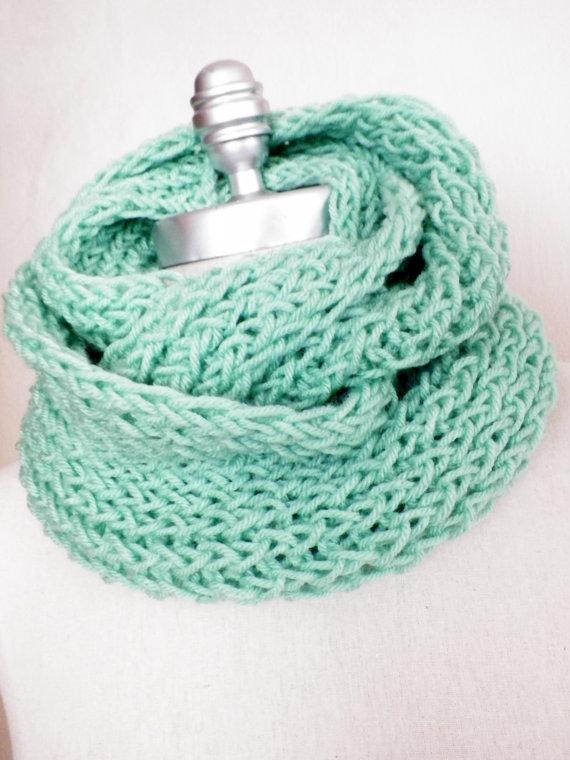 Mint green scarf infinity scarf knit fall by jamiesierraknits