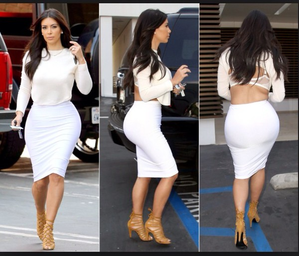 kim kardashian fashion fashion for women sexy style fashion forward celebrity style white pencil skirt blouse off-white crop tops long sleeves shirt kim kardashian style