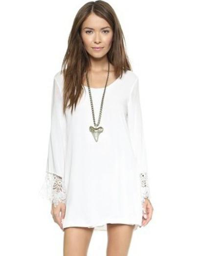 White Long Sleeve Floral Crochet Loose Dress - Sheinside.com