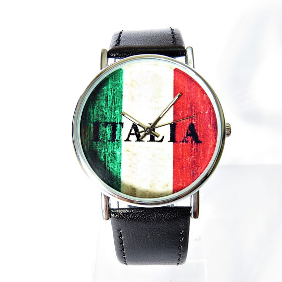 Italia Flag on Wood Watch  Vintage Style Watch Italy by FreeForme