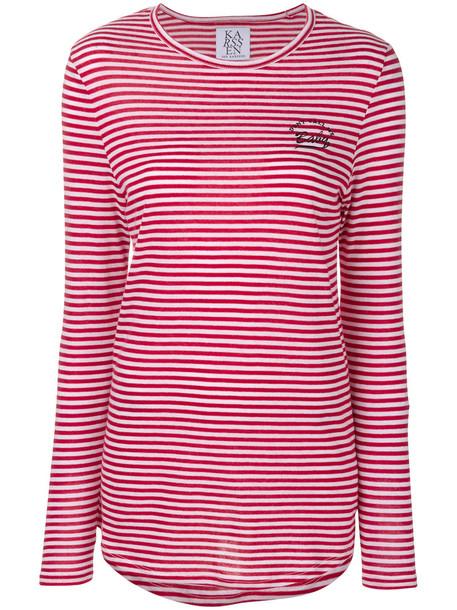 Zoe Karssen - embroidered stripe T-shirt - women - Cotton/Modal - L, Red, Cotton/Modal