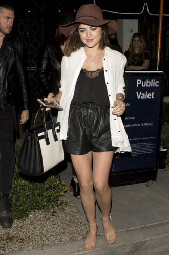 shorts hat lucy hale sandals cardigan