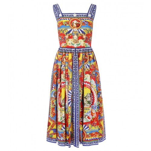 Dolce & Gabbana Multicoloured Cotton Carretto Siciliano Print Dress