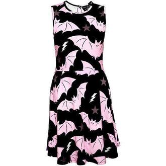 dress bat black bats stars pink black dress light pink