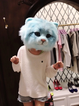 hat cats pastel kawaii costume blouse head blue fur