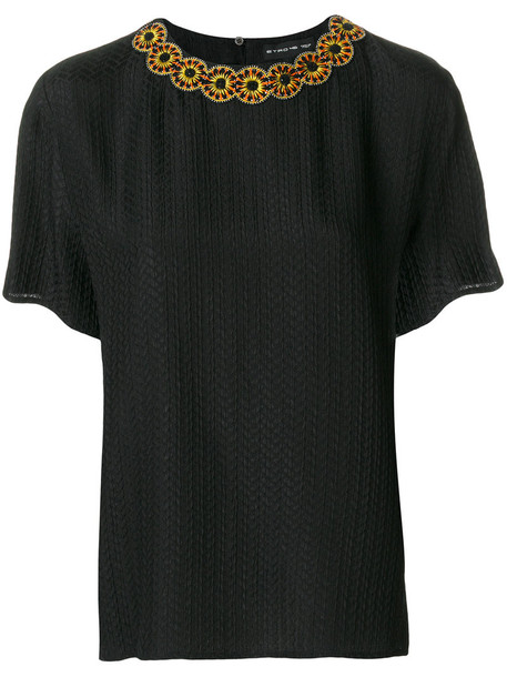 Etro - collar trim top - women - Silk/Cotton/Viscose/Stone - 42, Black, Silk/Cotton/Viscose/Stone