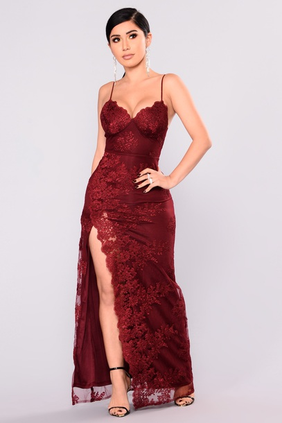 29f2cd16120 dress fasionnova fashion nova lace red prom maxi dress burgundy wine