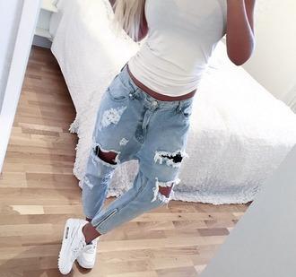 jeans ripped ripped jeans denim harem boyfriend boyfriend jeans