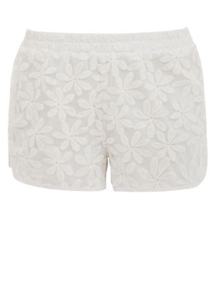 White Flower Lace Shorts