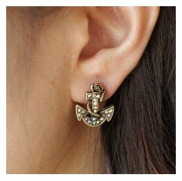Amazon.com: fashion rose boat anchor stud earring with rhinestone fashion jewelry birthday gift,1 pair: beauty