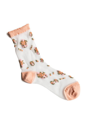 socks sheer floral peach color see through pink clear white flowers sock pretty cute tumblr